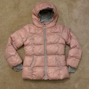 Michael Kors Girls Hooded Pink Puffer Jacket Coat